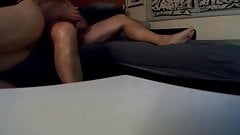 wife blows me while fuckbuddy tries to get his cock hard