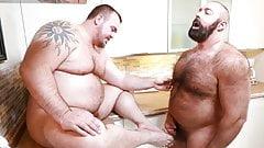 Hairy papa bear fingers fat gay guy