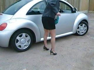 Old vintage car - Mature leggy lady in car