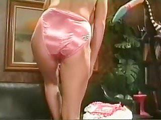 Pink taco teen satin Blonde in pink satin panties and black satin slip