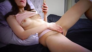The student masturbates and watches porn. Hairy pussy. Orgasm