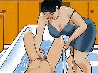 Sexy hental anime Mature mom handjob dick her boy animation