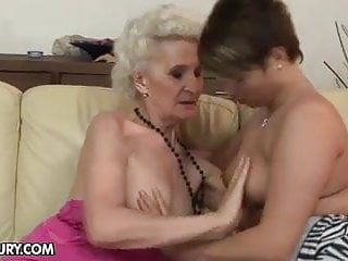 Lesbian vagina touching Granny with old hairy vagina fucks young girl
