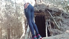 Yoga Pants Strip in the Woods