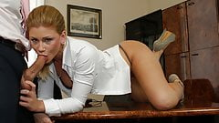 Horny Secretary Brooklyn Lee Oral Pleasures Her Boss