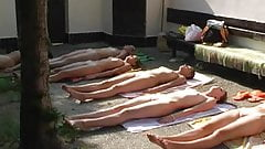 Czech nude group yoga part 1