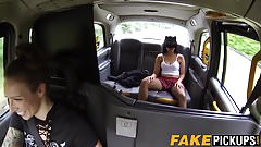 Lesbian taxi driver fingering mysterious masked babe