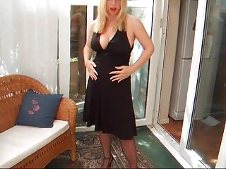 Lucy gresty at vintage erotica - Lady lucy - black cocktail dress w garterbelt and stockings