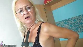 OldNannY Older Blonde and Teen Lesbian Strapon