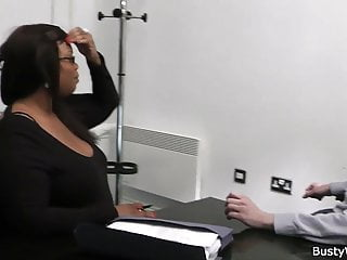 Ebony fucked by director for job Ebony fatty spreads her legs for job