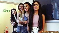 Gorgeous eurobabes enjoy group CFNM scene