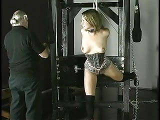Breast canacer wrist band Slave gets rope around wrists nipples clamped and ball gag in her mouth