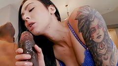 Tattooed Babe makes his Dick wet