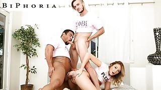 Sorority Challenge: College Babe Fucks 2 Bi Guys - BiPhoria