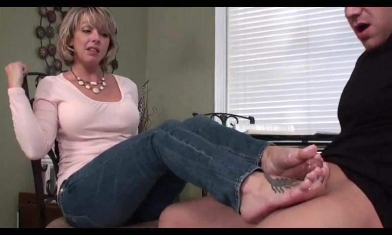 Sister Gives Brother Footjob