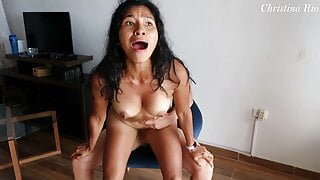 She FUCKS ME HARD on a chair and has her ORGASM – Christina