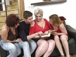 Boy fucking his granny - Lucky boy fucking three mature slut moms