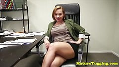 Busty office stepmom giving pov guy a handjob