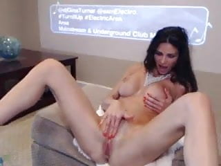 Clit long pic Long legged sexy brunette milf rubs clit on cam