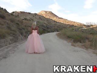 Submisive bondage Hot blonde bride in outdoor submision scene