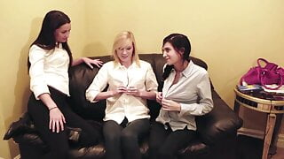 Lesbian teens lick pussy in a hot and horny threesome