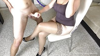 Amateur Teen Stepsis gives handjob and gets Cumshot on her Stockings