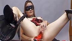 Backstage - Slave Petra masturbates in a gyno chair