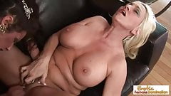 GILF housewives have some lesbian fun when left alone