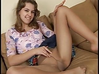 Teen solo movie - Skinny teen solo in sexy tan pantyhose
