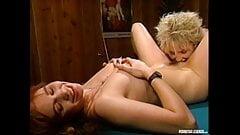 Bridgette Monroe and Dusty Lesbian Eat Pussy On Pool Table