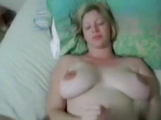 Free big tit housewife amateur handjob Blonde housewife jerks hubbys cock over her gorgeous tits