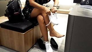 Wife shows Pantyhosed sexy feets legs at shoe shopping