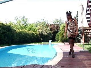 Hardcore uniform porn Uniformed babe in fishnet stockings and garter belt