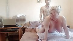 mother-in-law gives a blowjob, then has sex in different positions
