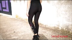 Beauty ass of     sister teen walking in tight legging