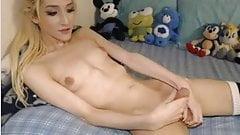 Slim tranny TS small tits nice cock big balls stroking cock