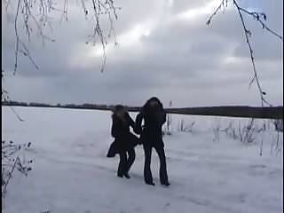 Hot teen lesbians in snow - Amateur - lesbian teens lick pee in the snow