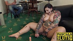 Chubby English subslut toying her cunt with a beer bottle