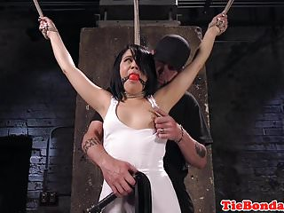 Spreadeagled exposed and finger fucked Bdsm sub spreadeagle for pussy fingering
