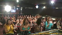 Multiple CFNM babes get to suck wrestling stripper's dick