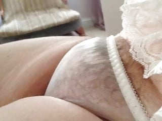 Upskirt see-through panties pussy lips tubes - Bbw with hairy pussy wearing small see through pantys.