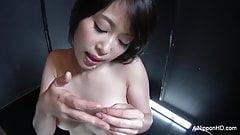 Asian slut gives a sexy POV blowjob