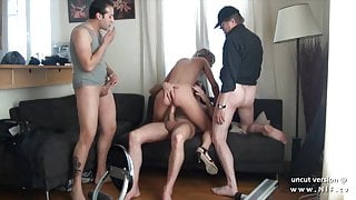 Small titted squirt french slut hard DP in a gangbang