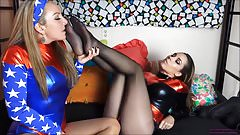Heroine and Villainess Pantyhose Sisters Pt.1