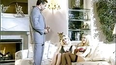 Peter North pounds two classy blondes on a expensive couch