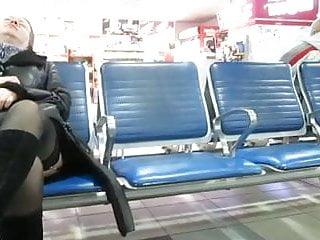 Upskirt at airports - Stockings upskirt in airport 1