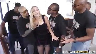 Slut Cherie Deville takes five BBCs in a game room, Gangbang