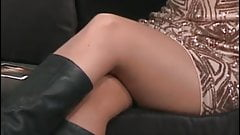 Reading a book in pantyhose and boots 2