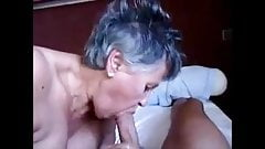 Grandma gives blowjob and handjob with cum in mouth