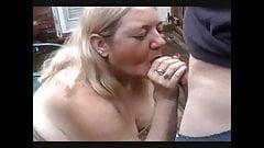 Big granny suck friend dick and get cum in mouth